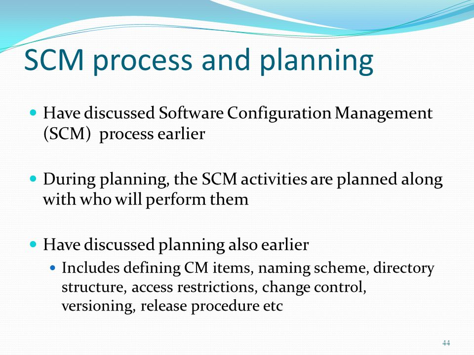 SCM process and planning