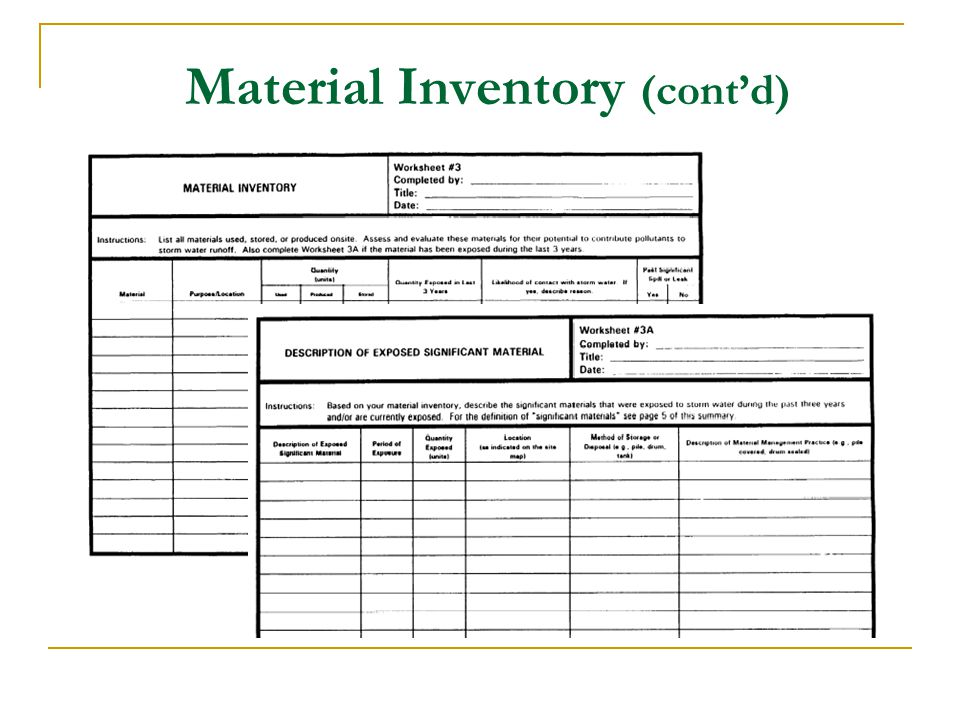 Material Inventory (cont'd)