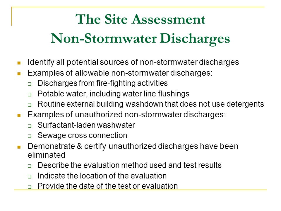 The Site Assessment Non-Stormwater Discharges