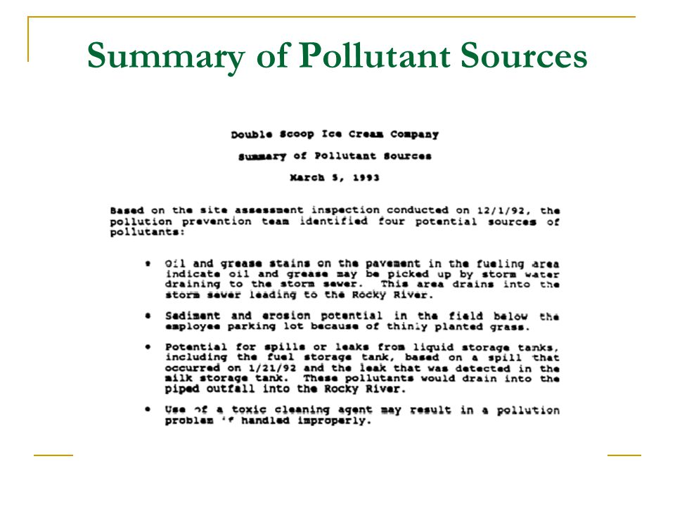 Summary of Pollutant Sources