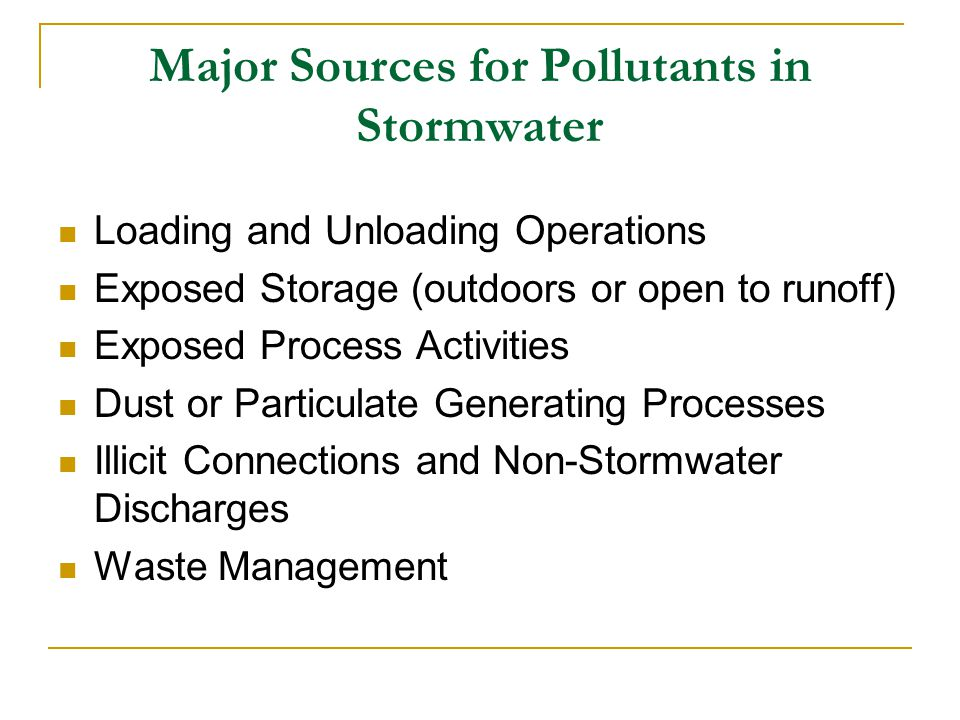 Major Sources for Pollutants in Stormwater
