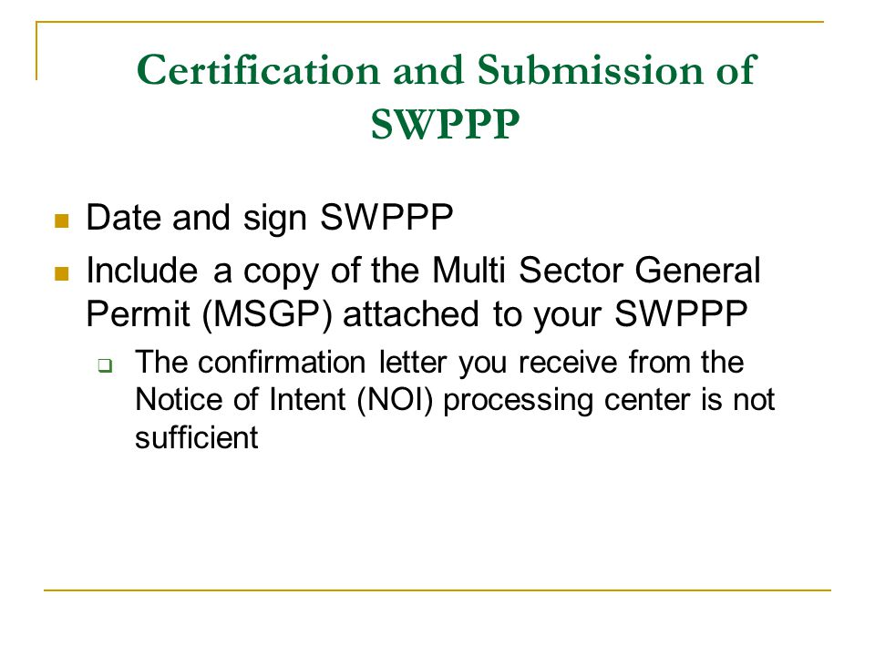 Certification and Submission of SWPPP