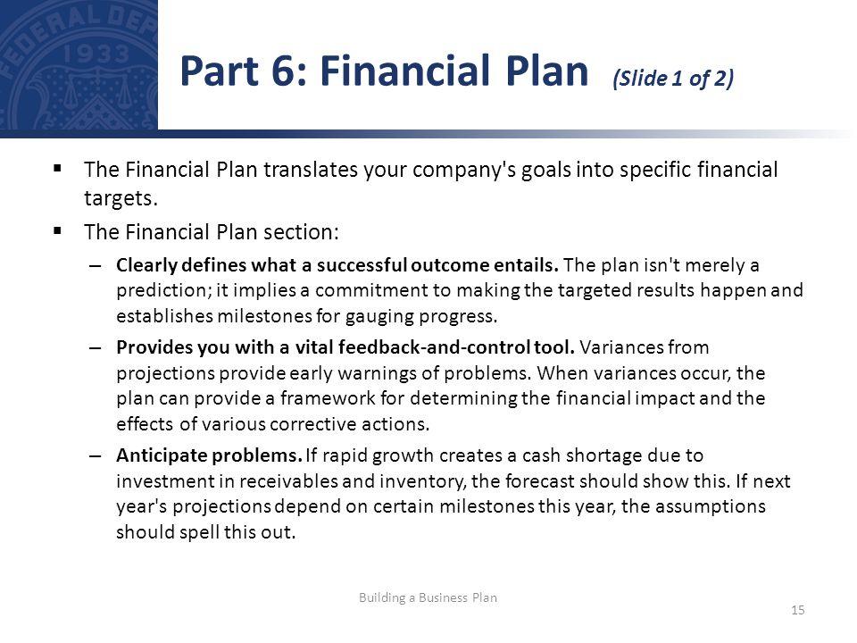 Part 6: Financial Plan (Slide 1 of 2)