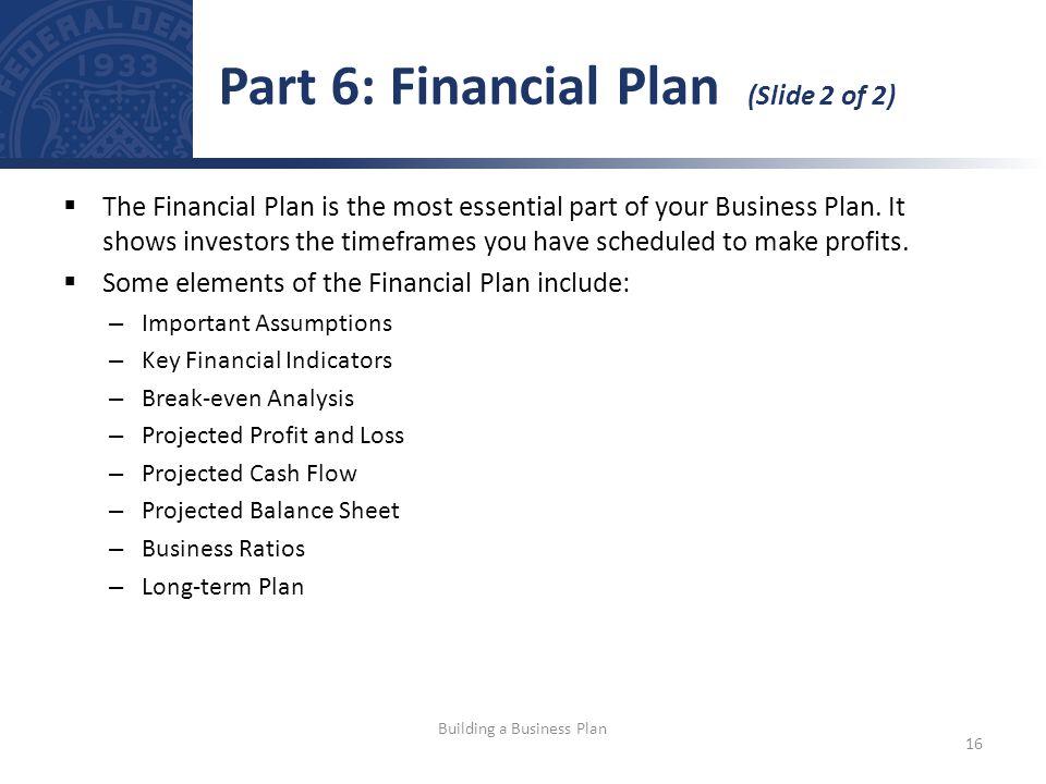 Part 6: Financial Plan (Slide 2 of 2)