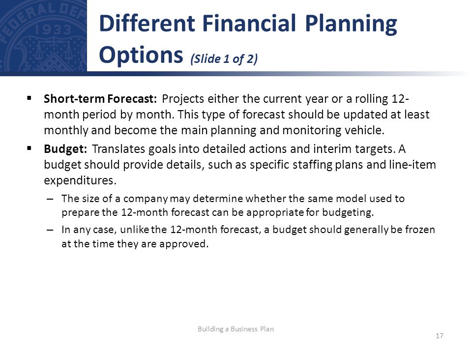 Different Financial Planning Options (Slide 1 of 2)