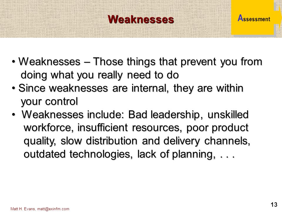 Weaknesses – Those things that prevent you from