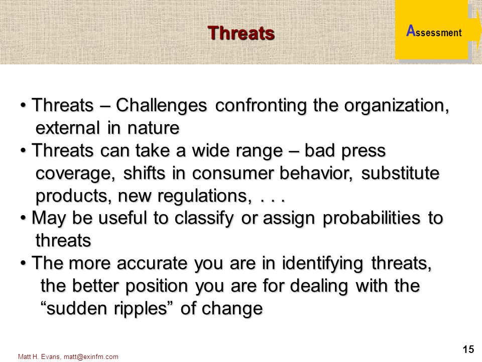 Threats – Challenges confronting the organization, external in nature