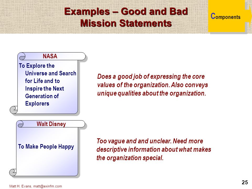 Examples – Good and Bad Mission Statements