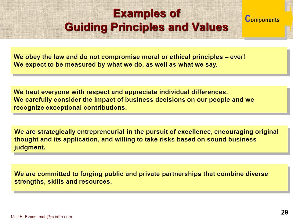 Examples of Guiding Principles and Values