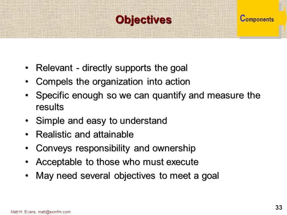 Objectives Components Relevant - directly supports the goal