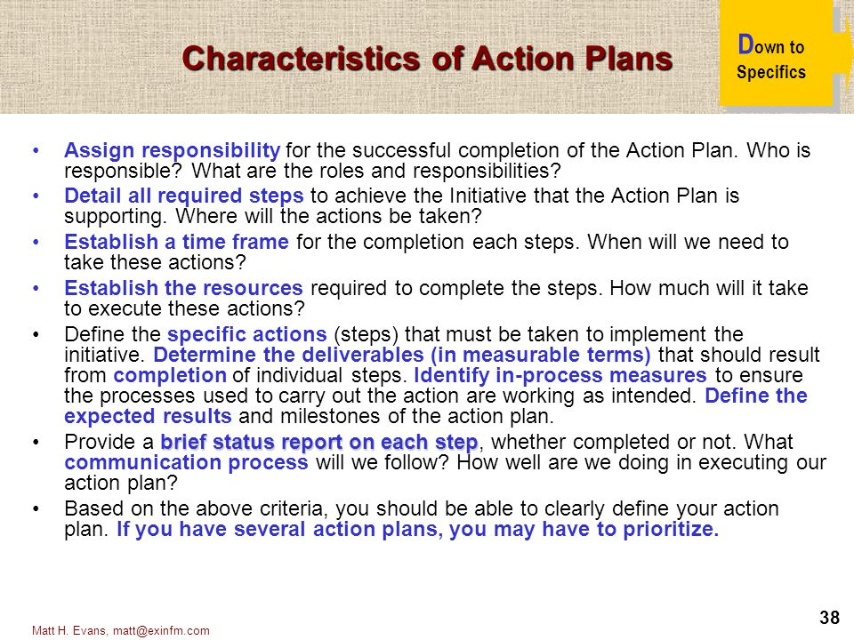 Characteristics of Action Plans