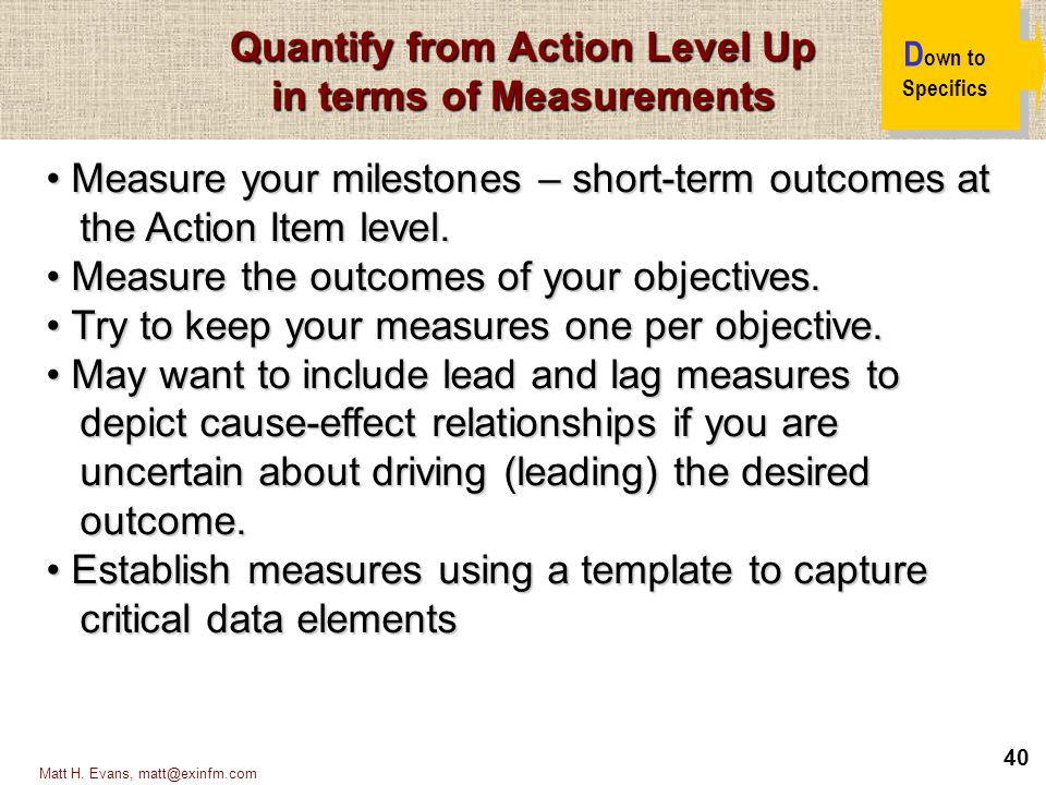 Quantify from Action Level Up in terms of Measurements