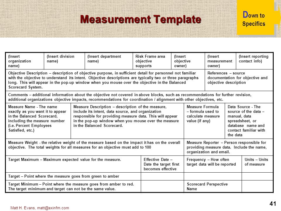 Measurement Template Down to Specifics (Insert organization name)