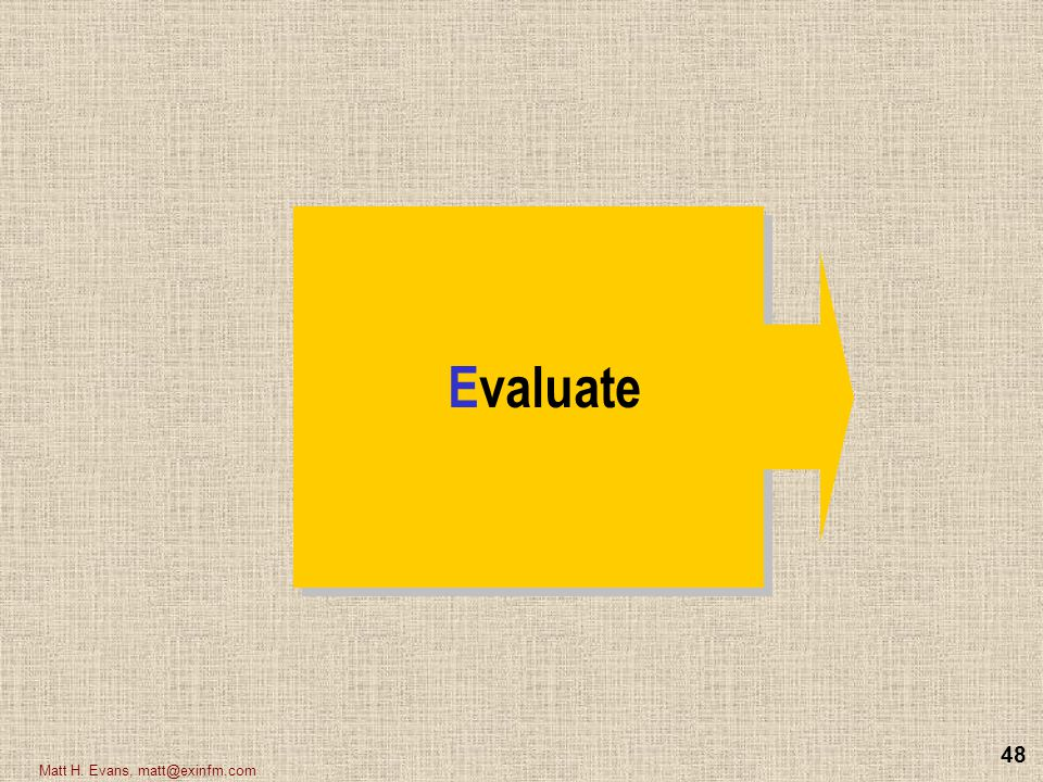 Evaluate Matt H. Evans, matt@exinfm.com