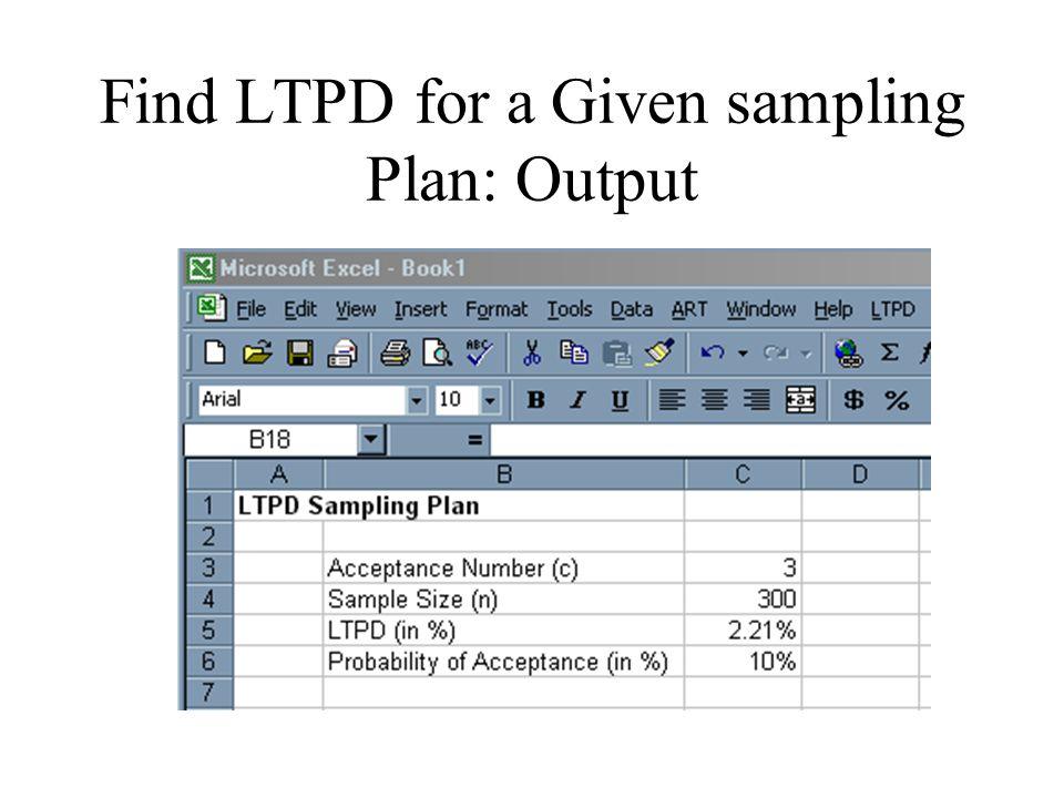 Find LTPD for a Given sampling Plan: Output