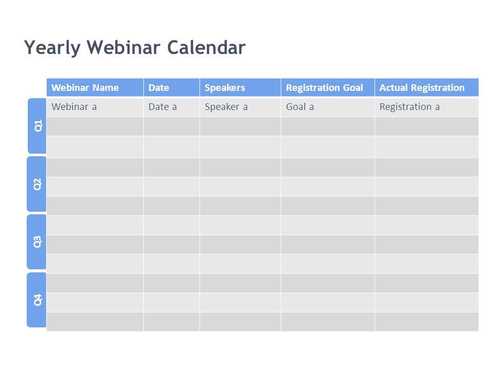 Yearly Webinar Calendar