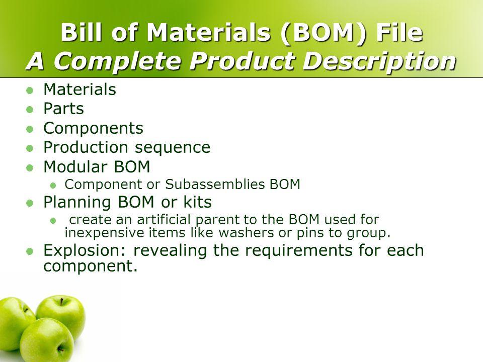 Bill of Materials (BOM) File A Complete Product Description