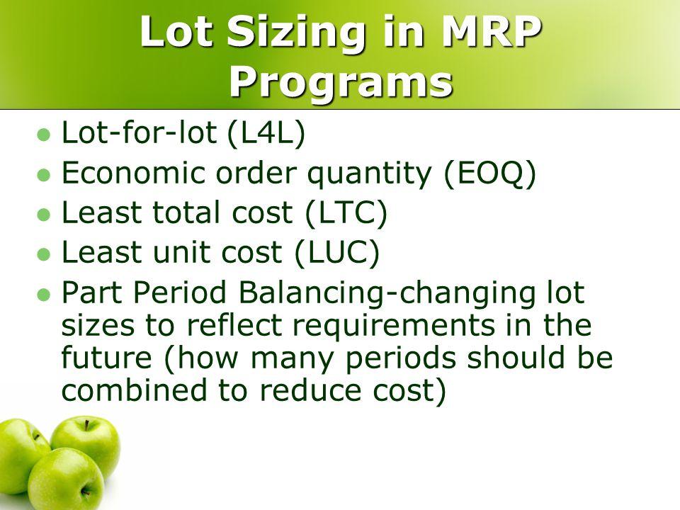 Lot Sizing in MRP Programs