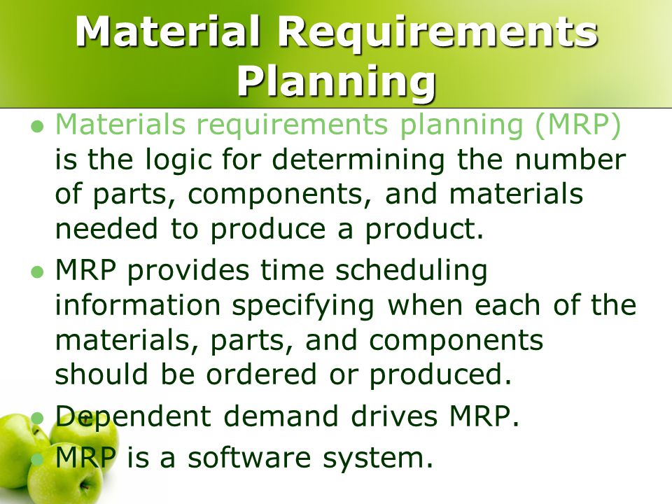 materials requirement 7 inputs to mrp bill of materials (bom) bill of materials (bom)/product structure tree-- a complete list of all components and the sequence to make the product product structure tree for item a.