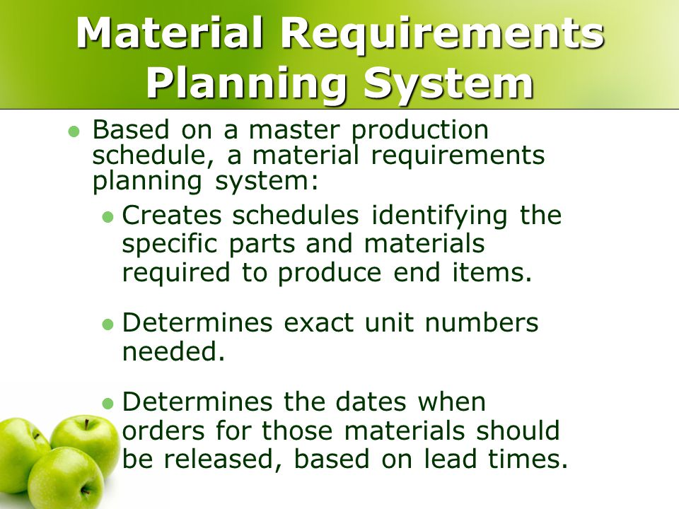 Material Requirements Planning System