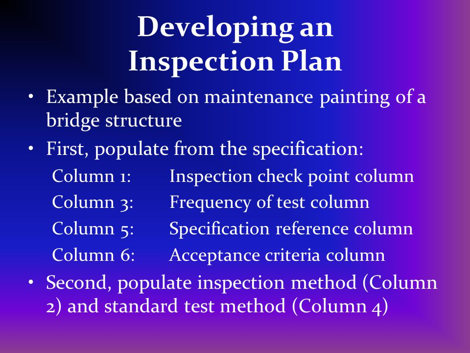 Developing an Inspection Plan