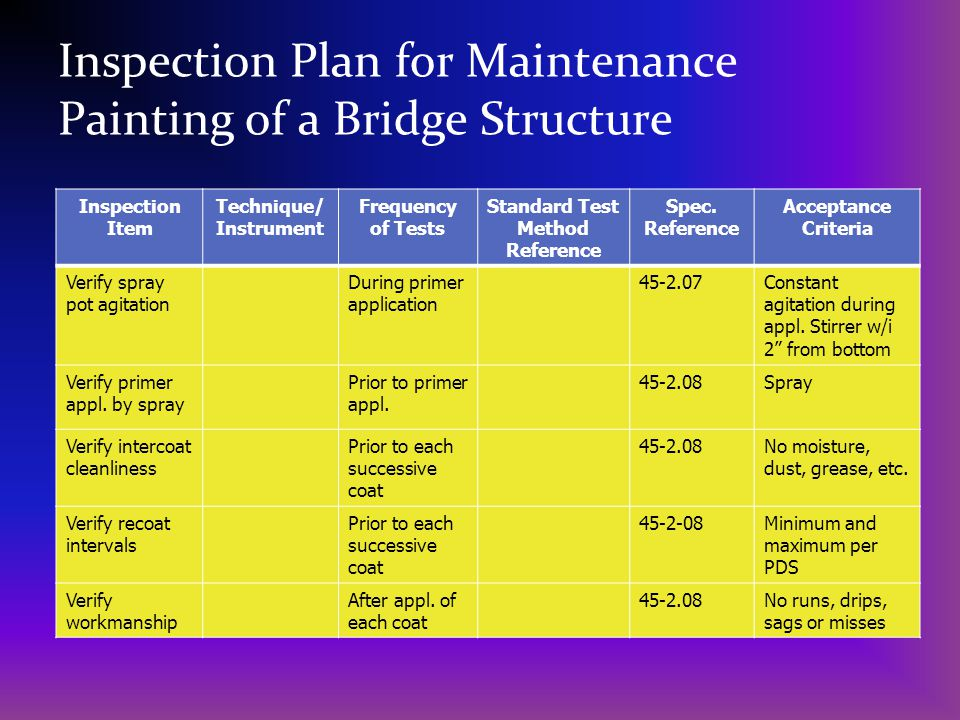 Inspection Plan for Maintenance Painting of a Bridge Structure