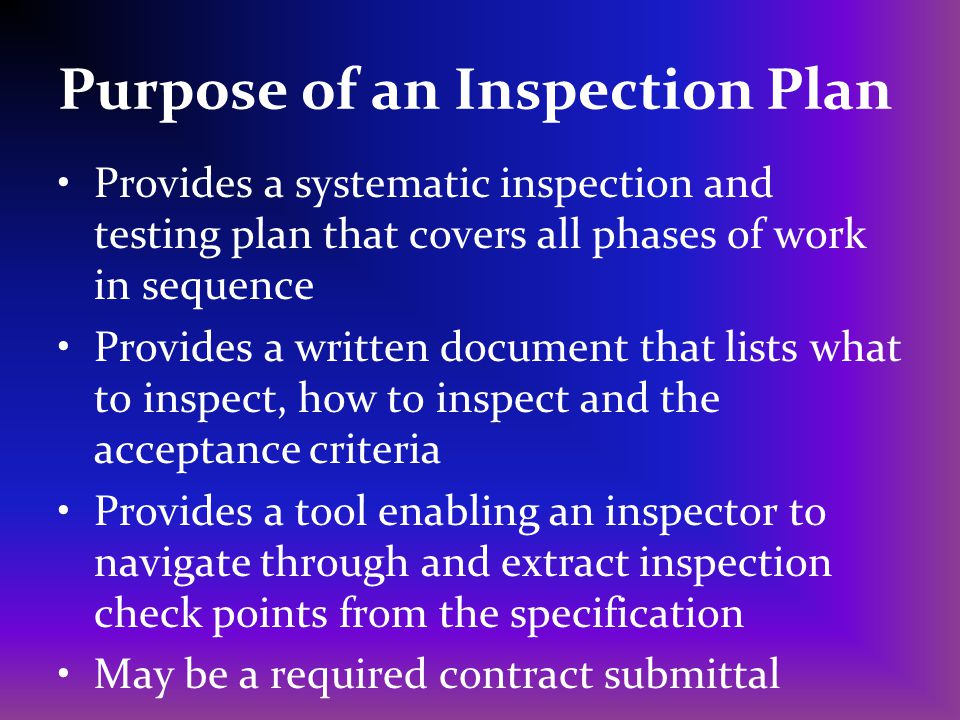 Purpose of an Inspection Plan