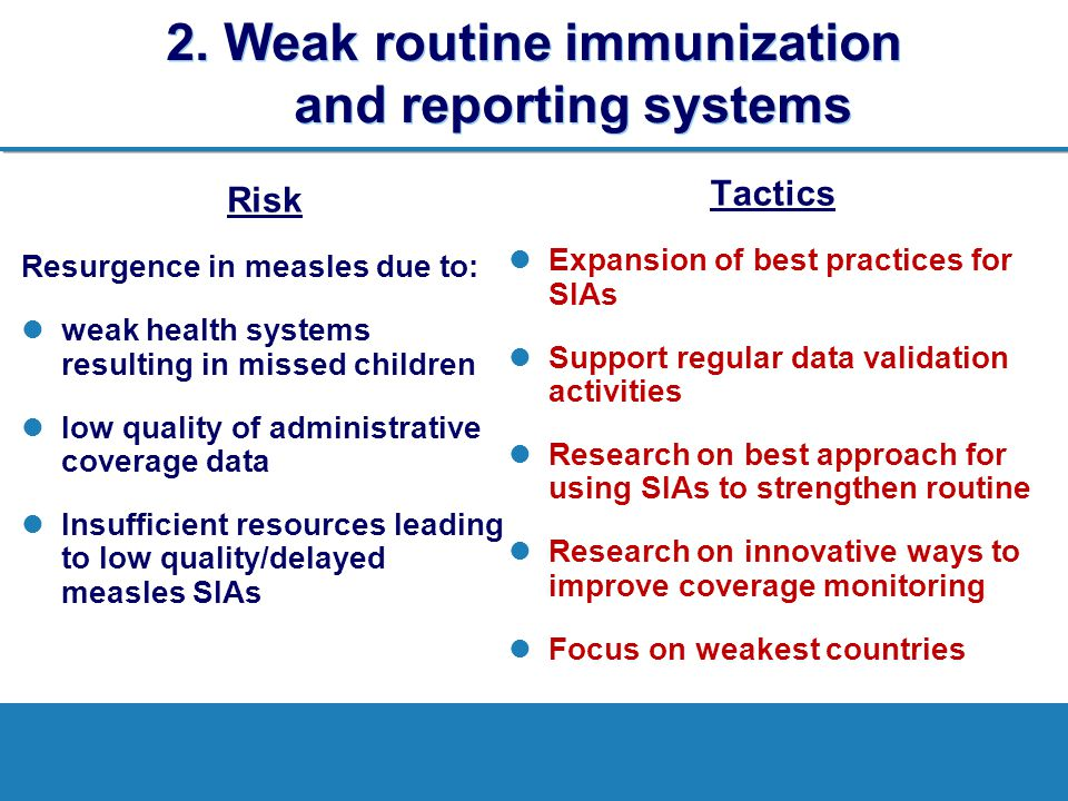 2. Weak routine immunization and reporting systems