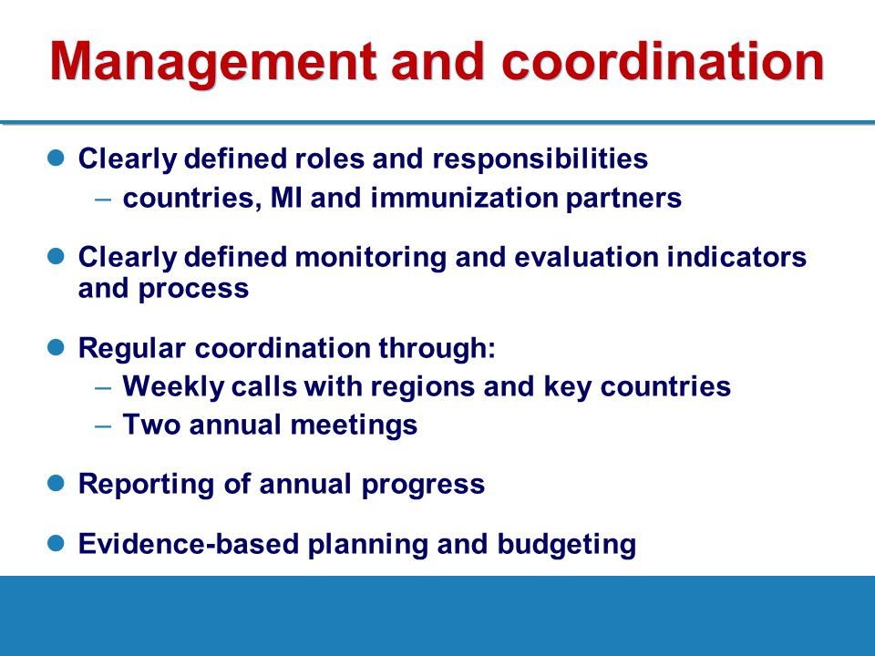 Management and coordination