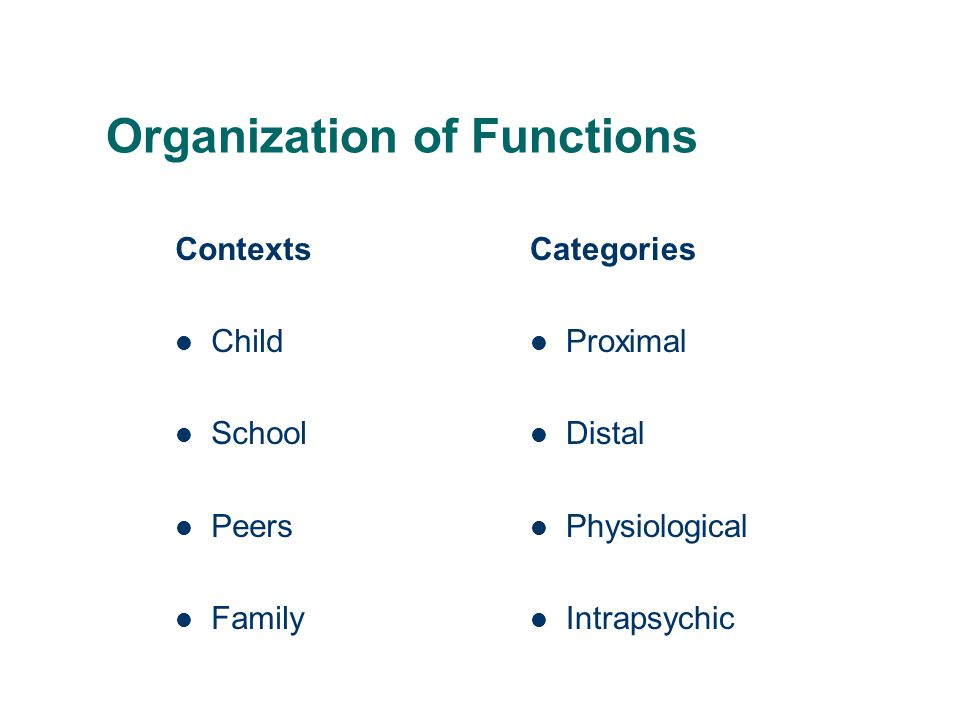 Organization of Functions