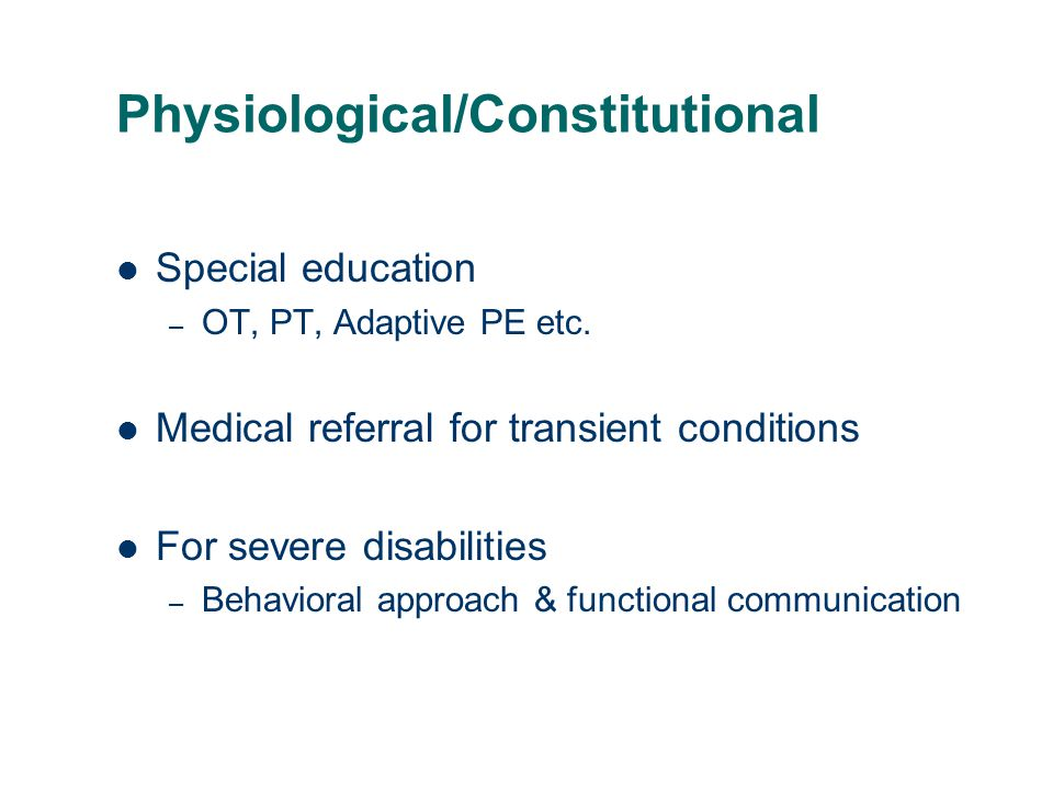 Physiological/Constitutional