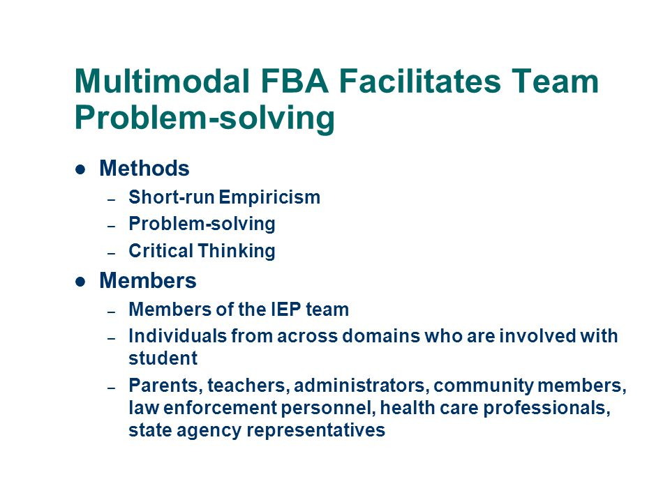 Multimodal FBA Facilitates Team Problem-solving