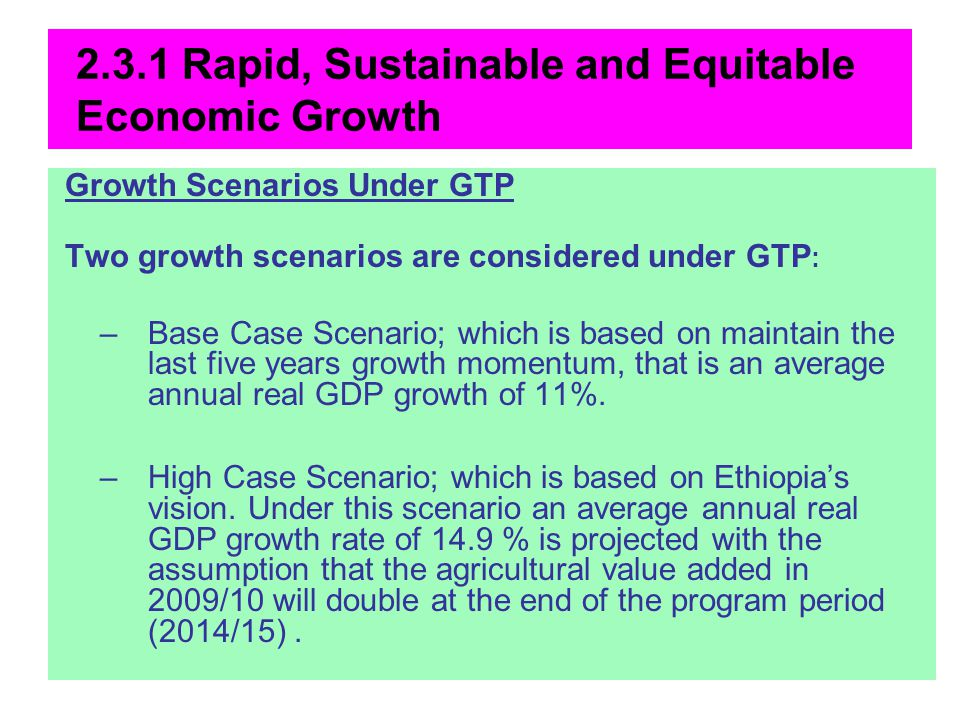 2.3.1 Rapid, Sustainable and Equitable Economic Growth