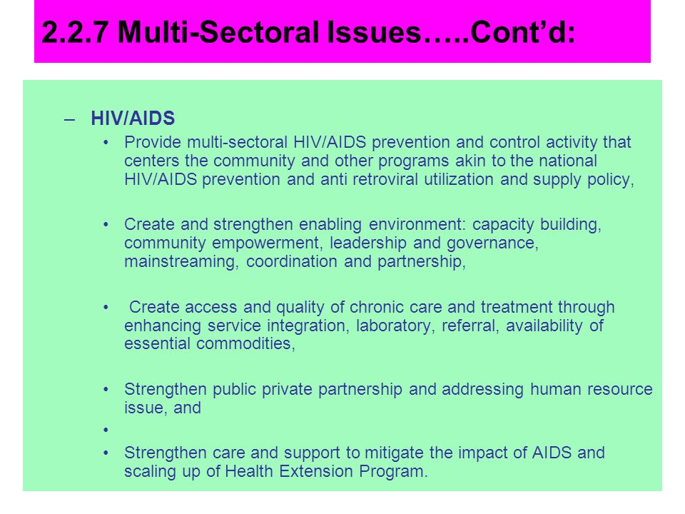 2.2.7 Multi-Sectoral Issues…..Cont'd: