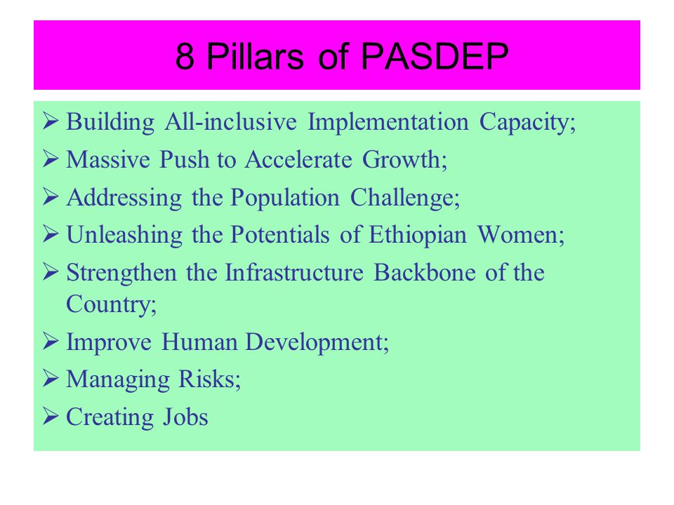 8 Pillars of PASDEP Building All-inclusive Implementation Capacity;