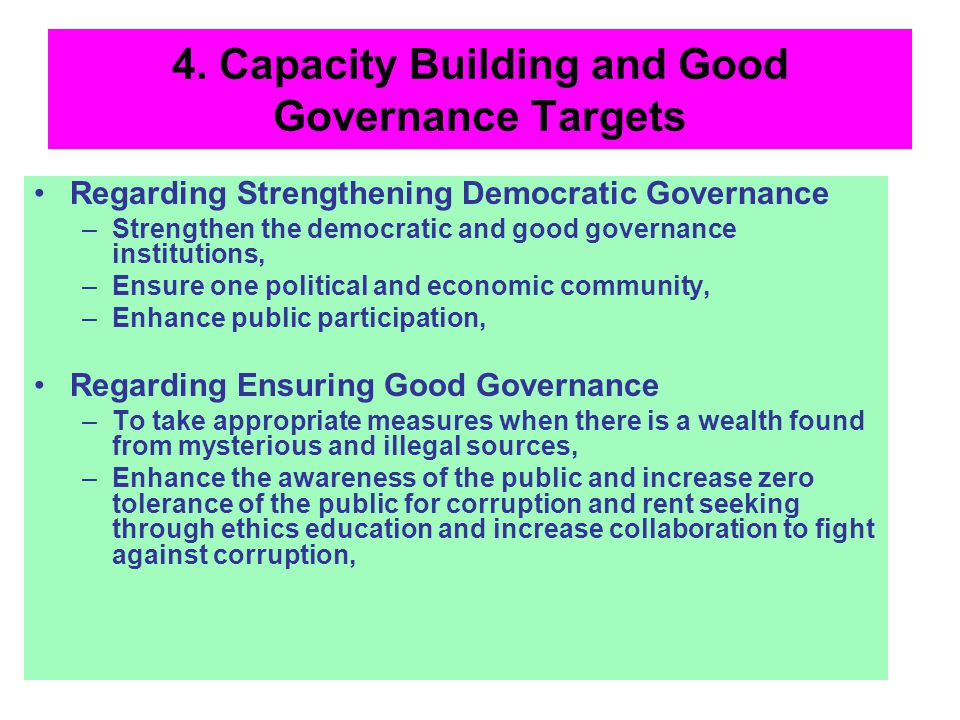 4. Capacity Building and Good Governance Targets