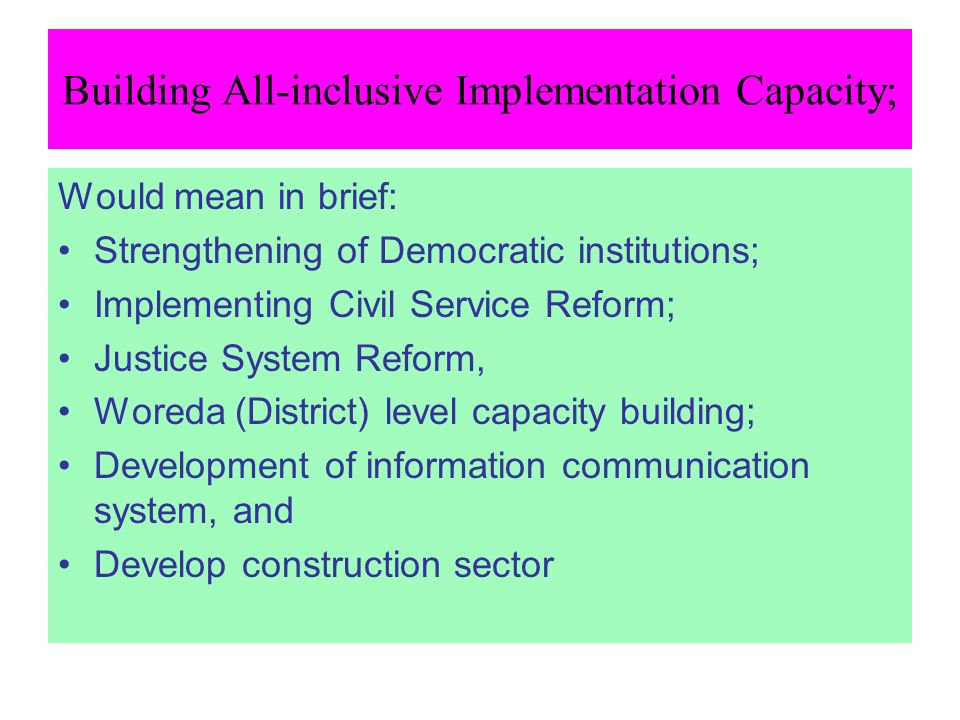 Building All-inclusive Implementation Capacity;