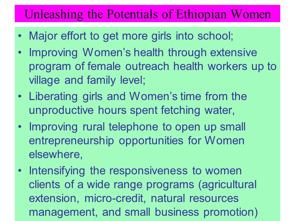 Unleashing the Potentials of Ethiopian Women