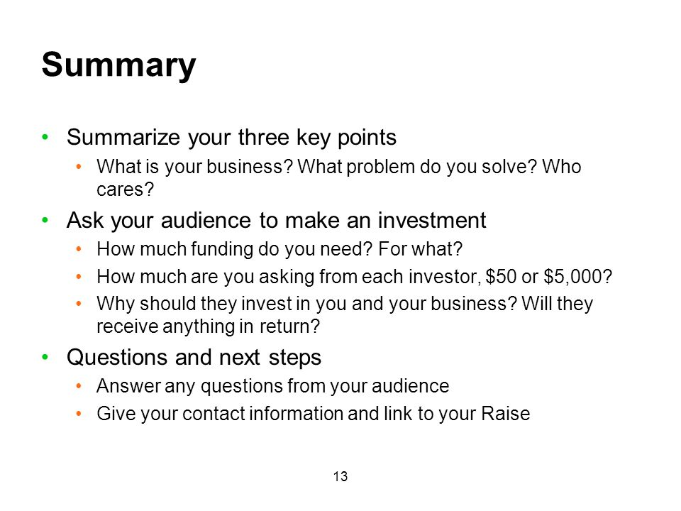 Summary Summarize your three key points