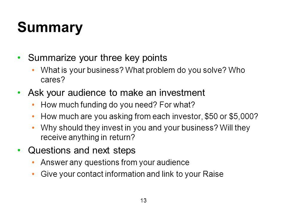 Summary Summarize your three key points