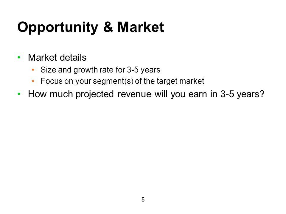 Opportunity & Market Market details