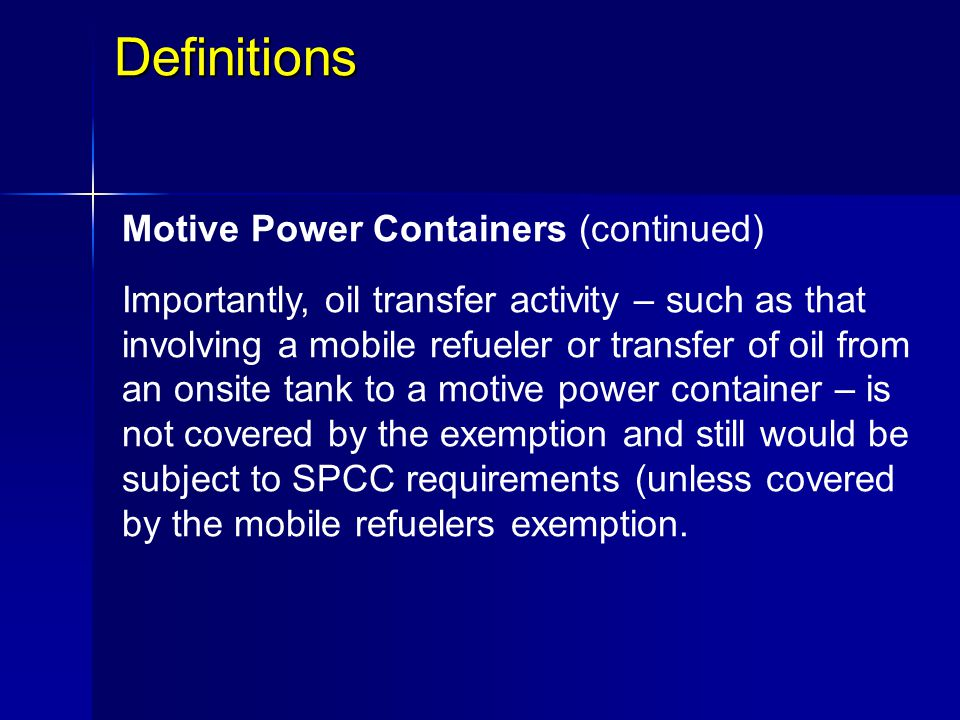 Definitions Motive Power Containers (continued)