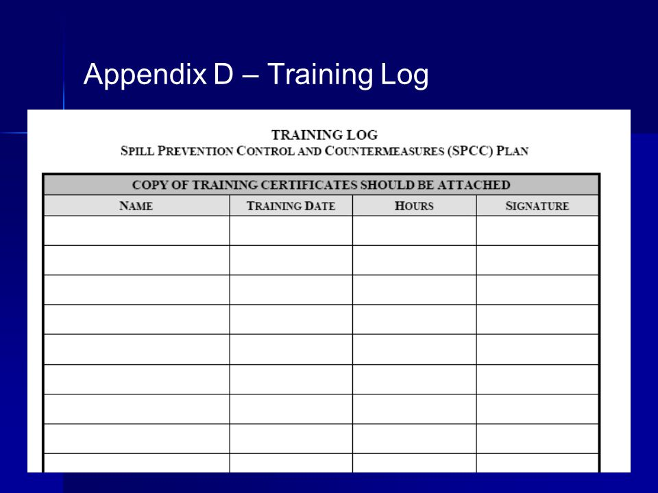 Appendix D – Training Log