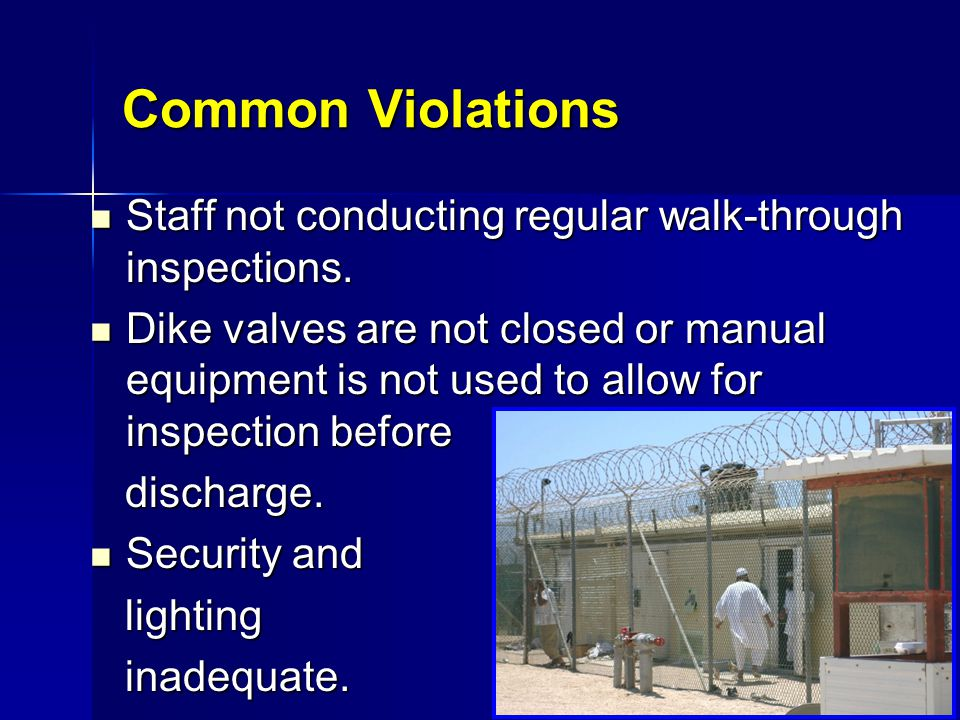 Common Violations Staff not conducting regular walk-through inspections.