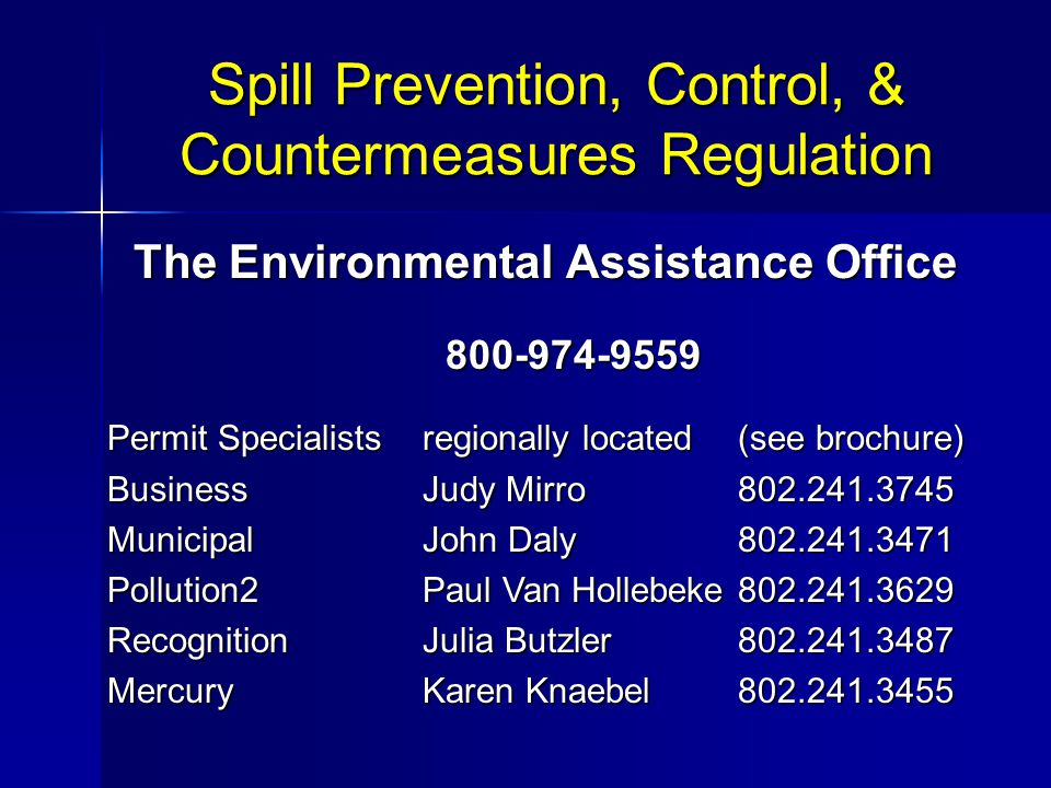 Spill Prevention, Control, & Countermeasures Regulation