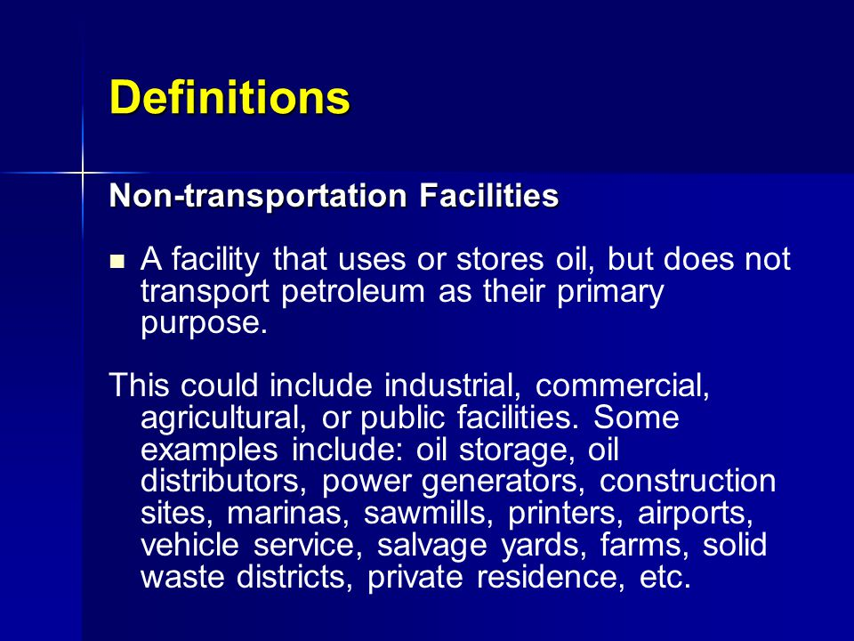 Definitions Non-transportation Facilities