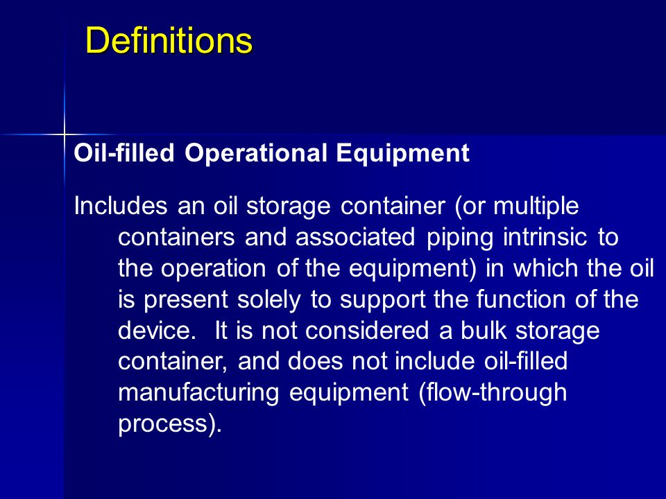 Definitions Oil-filled Operational Equipment