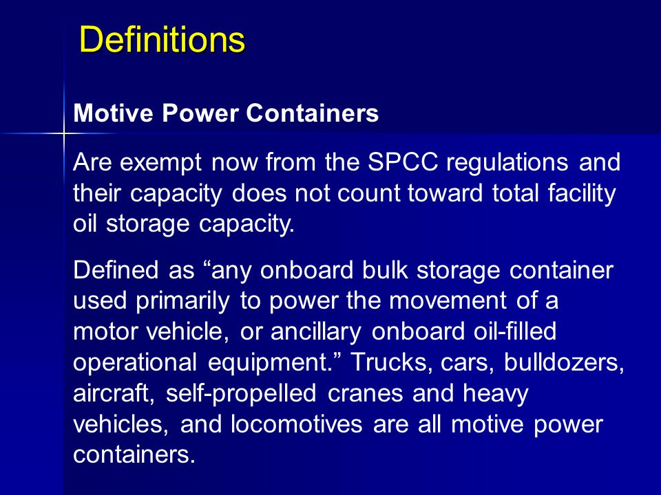 Definitions Motive Power Containers