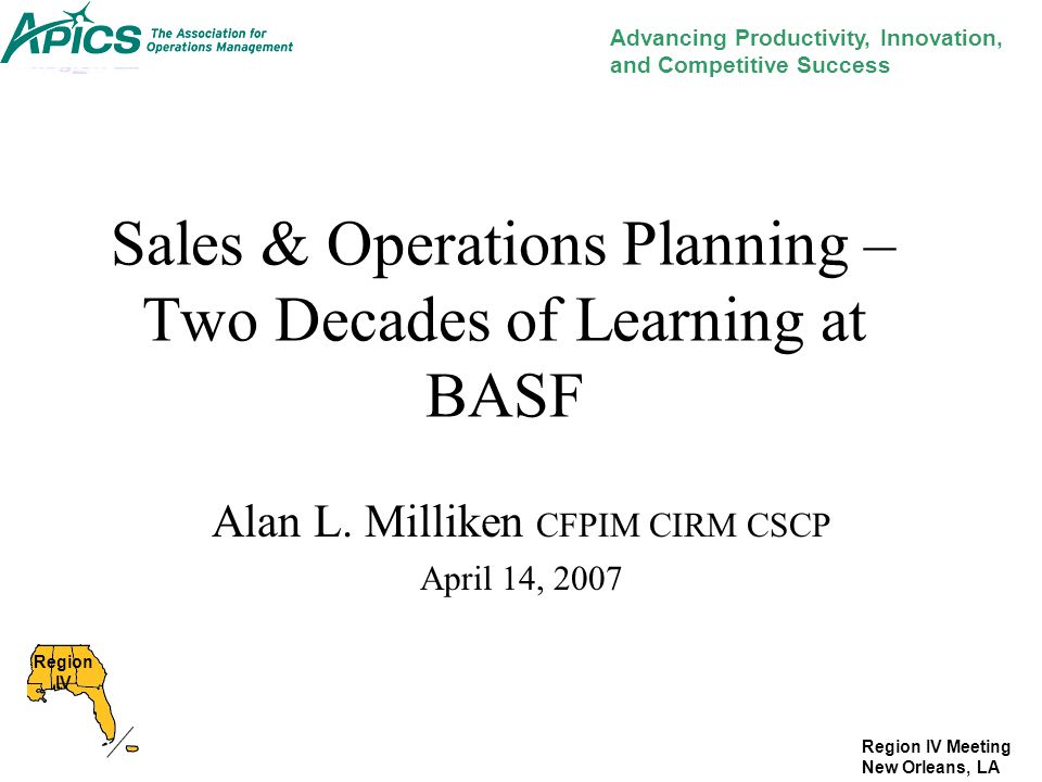 Sales & Operations Planning – Two Decades of Learning at BASF