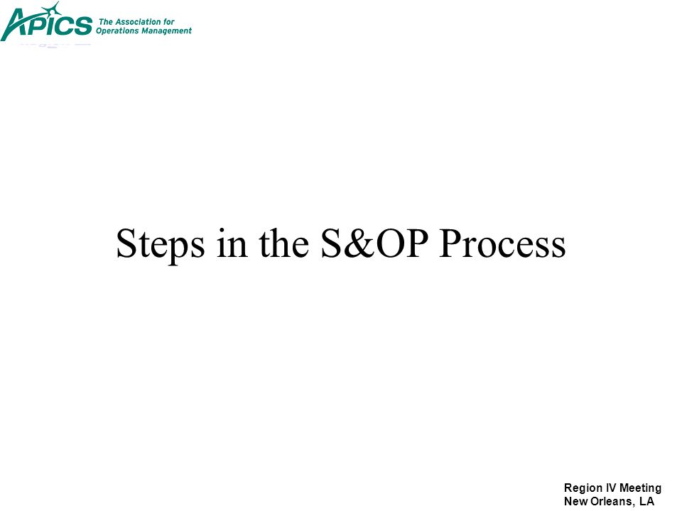 Steps in the S&OP Process